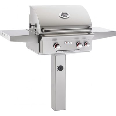 American Outdoor Grill T-Series 24-Inch 2-Burner Freestanding Natural Gas Grill On In-Ground Post With Rotisserie - 24NGT