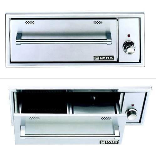 Lynx 30-Inch Built-In 120V Warming Drawer - Closed and open view