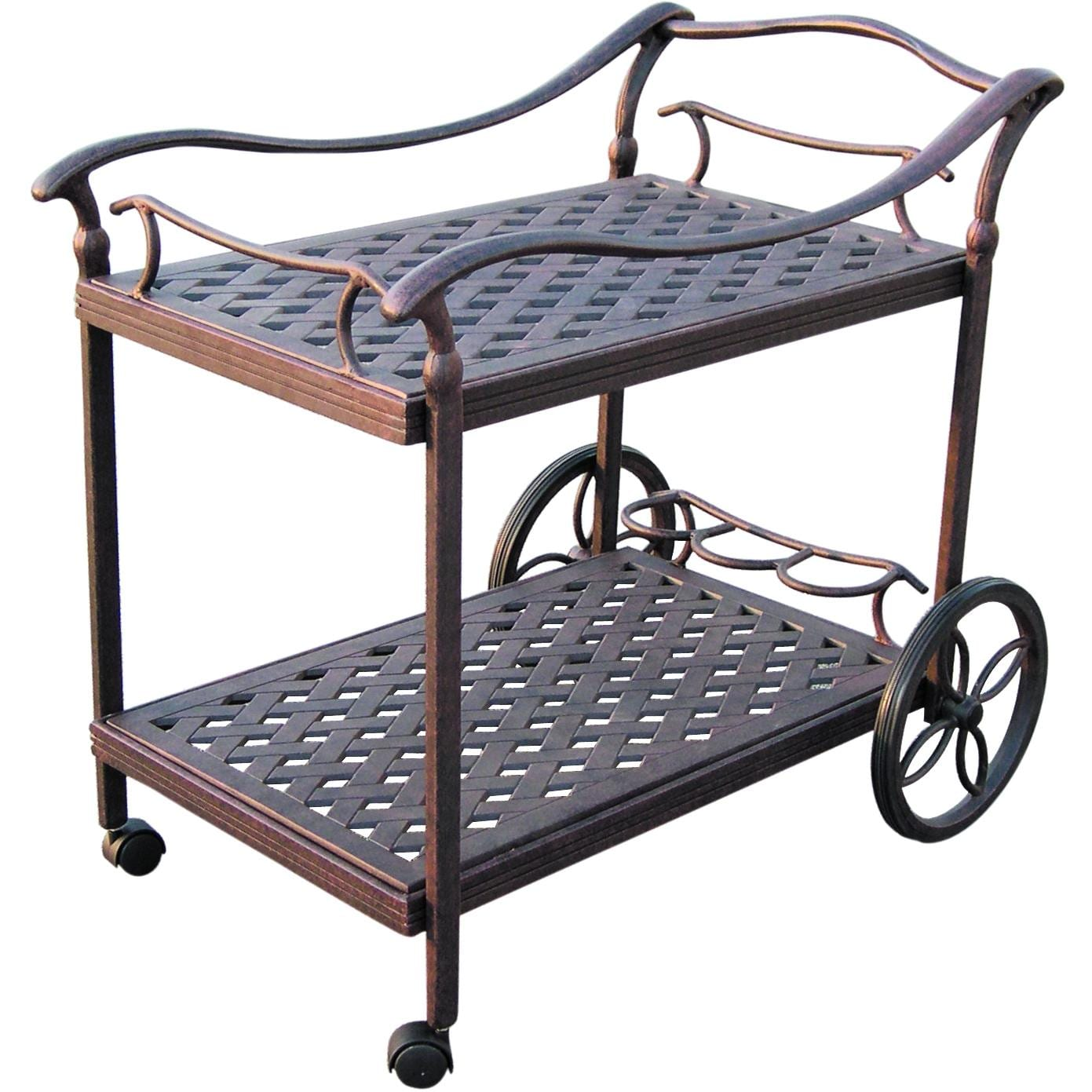 Darlee Cast Aluminum Patio Tea Cart - Antique Bronze