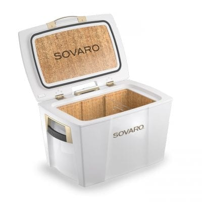 Sovaro 70 Qt. Luxury Cooler – White with Gold Trim – SVRHSC70-W