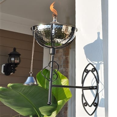 Starlite Patio Maui Grande Hammered Nickel Sconce Torches