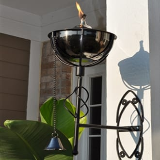 Starlite Patio Maui Grande Black Nickel Sconce Torches