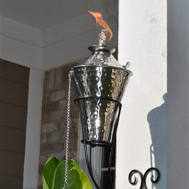 Starlite Patio Kona Deluxe Hammered Nickel Sconce Torches