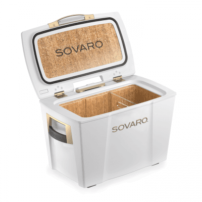 Sovaro 45 Qt. Premium Luxury Cooler - White with Gold Trim