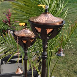 Starlite Patio Bali Bronze Patio Torches w/ Hammered Copper Torch Heads Set of 2