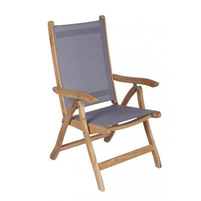 Royal Teak Collection Gray Florida Sling Adjustable Arm Dining Chair – FLGR