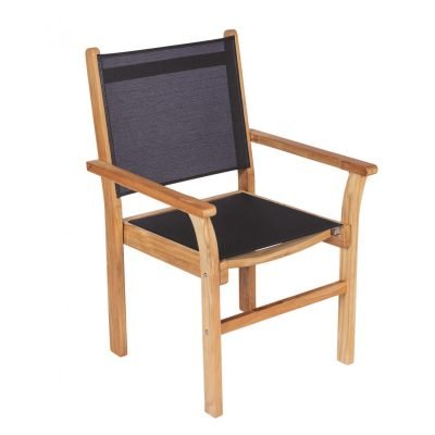 Royal Teak Collection Black Captiva Sling Stackable Dining Arm Chair