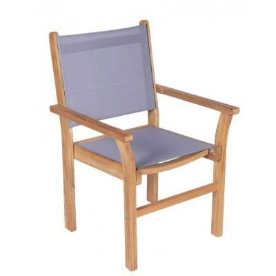 Royal Teak Collection Gray Captiva Sling Stackable Dining Arm Chair – CAPG