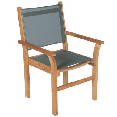 Royal Teak Collection Moss Captiva Sling Stackable Dining Arm Chair - CAPM