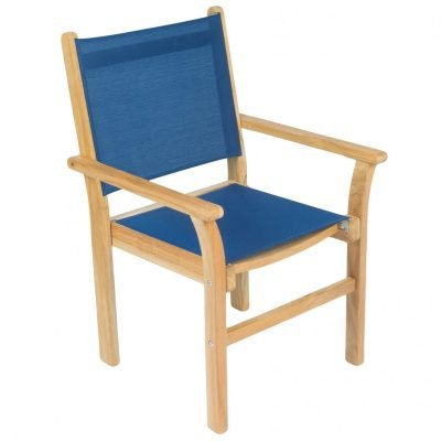 Royal Teak Collection Navy Captiva Sling Stackable Dining Arm Chair - CAPN