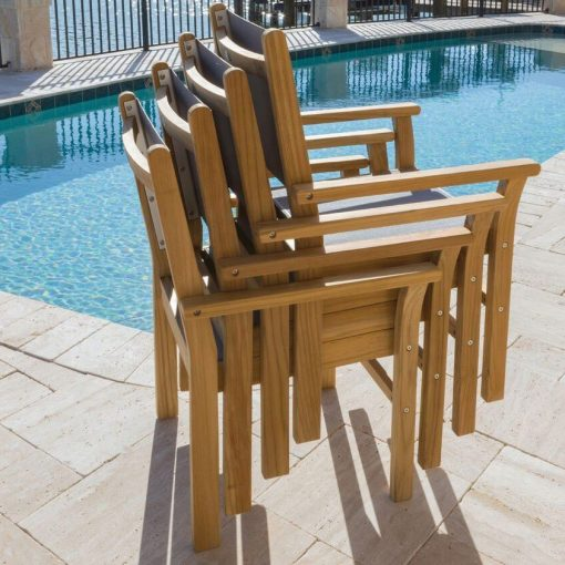 Royal Teak Collection White Captiva Sling Stackable Dining Arm Chair - CAPW