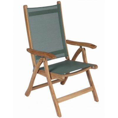 Royal Teak Collection Moss Florida Sling Adjustable Arm Dining Chair