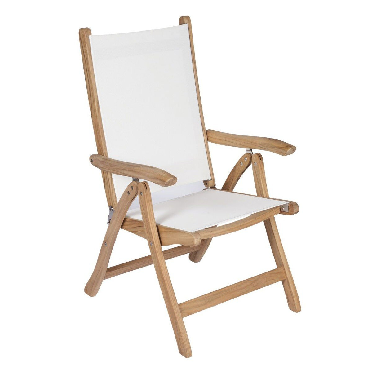 Royal Teak Collection White Florida Sling Adjustable Arm Dining Chair