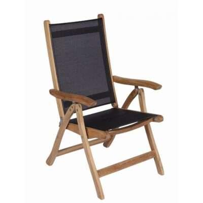 Royal Teak Collection Black Florida Sling Adjustable Arm Dining Chair