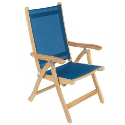Royal Teak Collection Navy Florida Sling Adjustable Arm Dining Chair