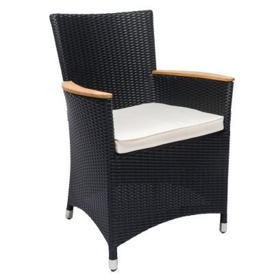 Royal Teak Collection Black Helena Wicker White Cushion Dining Chair