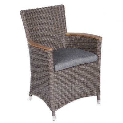 Royal Teak Collection Gray Helena Wicker Gray Cushion Dining Chair