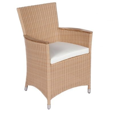 Royal Teak Collection Honey Helena Wicker White Cushion Dining Chair