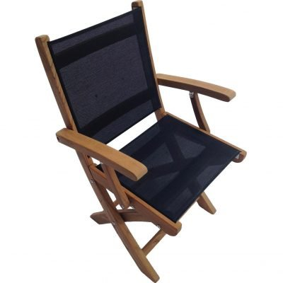 Royal Teak Collection Black Sailmate Folding Arm Chair