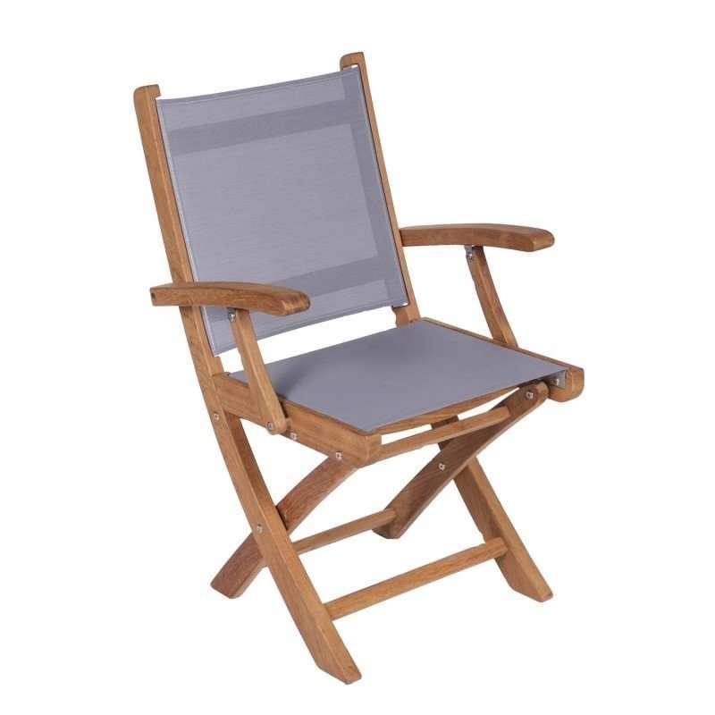 Royal Teak Collection Gray Sailmate Folding Arm Chair