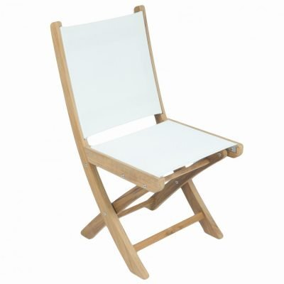 Royal Teak Collection White Sailmate Folding Side Chair - SMSW