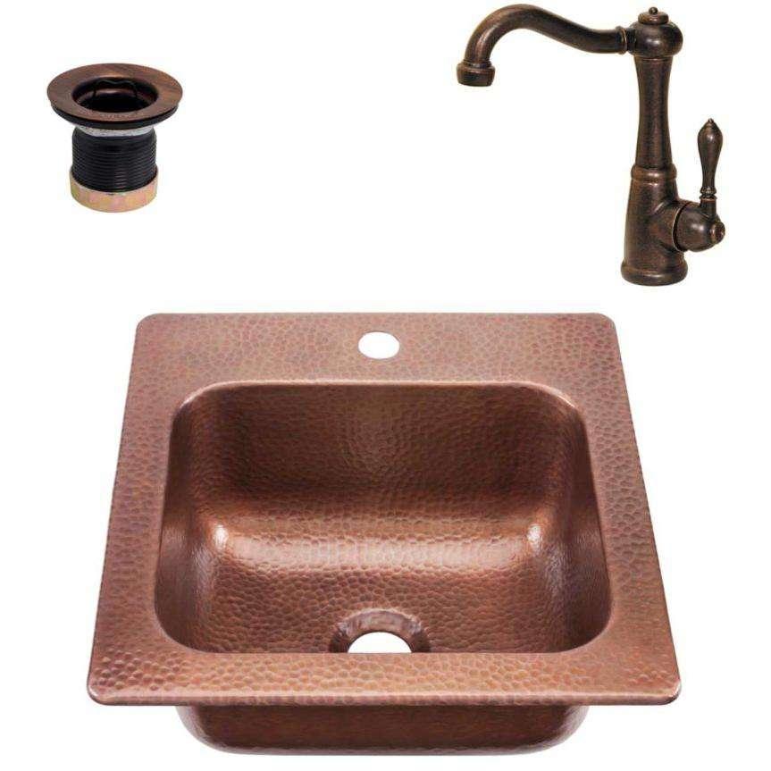 RCS 15 X 15 Copper Sink Plus Faucet