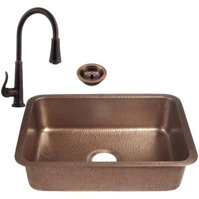 RCS 23 X 17 Copper Undermount Sink Plus Faucet
