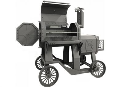 The Hamrforge Beast Reverse flow smoker and traditional charcoal barbecue.