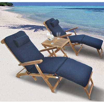 Royal Teak Collection 3-Piece Chaise Lounge Set