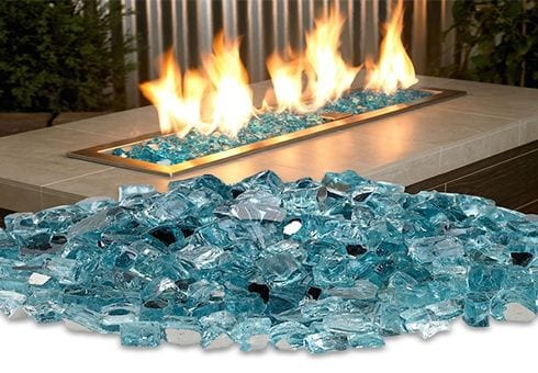 fireglass and stones