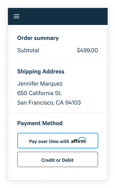 buying with affirm step one